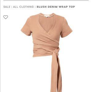 Blush Denim Wrap Top.
